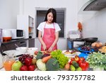 woman cutting tomato on board... | Shutterstock . vector #793757782