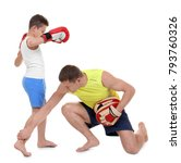 cute little boy training with... | Shutterstock . vector #793760326