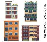 modern block city apartment... | Shutterstock .eps vector #793763146