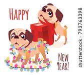 Stock vector merry christmass postcard happy new year banner with dog cartoon dog with a gift vector puppy 793763398