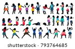 silhouettes of children ... | Shutterstock . vector #793764685