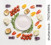 flat lay of colorful salad... | Shutterstock . vector #793769896