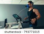 fitness man running on...   Shutterstock . vector #793771015