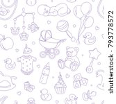newborn baby shower seamless... | Shutterstock .eps vector #793778572