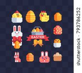 Stock vector happy easter design pixel art icons set greeting card with rabbit bunny eggs and chicken 793786252