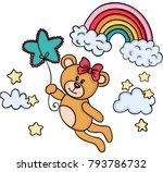 teddy bear girl flying with... | Shutterstock .eps vector #793786732
