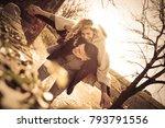 boyfriend carrying his... | Shutterstock . vector #793791556