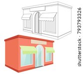 store front. red 3d building...   Shutterstock .eps vector #793793326