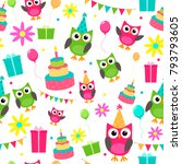 owl invitations cute... | Shutterstock . vector #793793605