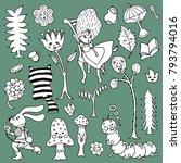 cartoon illustration  alice in... | Shutterstock .eps vector #793794016