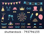 funny icons for carnival party  ... | Shutterstock .eps vector #793796155