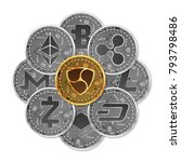 set of gold and silver crypto... | Shutterstock .eps vector #793798486