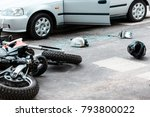 overturned motorcycle and... | Shutterstock . vector #793800022