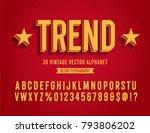vintage 3d sans serif condensed ... | Shutterstock .eps vector #793806202