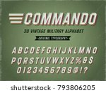 'commando' vintage retro 3d... | Shutterstock .eps vector #793806205