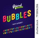 'bubbles' vintage sans serif... | Shutterstock .eps vector #793806286