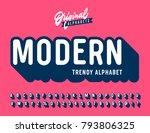 'modern' vintage 3d sans serif... | Shutterstock .eps vector #793806325