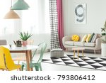 wooden stool and pouf on black... | Shutterstock . vector #793806412