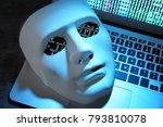 white mask on laptop keyboard ... | Shutterstock . vector #793810078