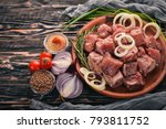 raw meat is cooked for shish... | Shutterstock . vector #793811752