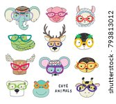cute animal faces funny doodle... | Shutterstock .eps vector #793813012