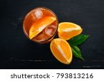 cocktail negroni. orange and... | Shutterstock . vector #793813216