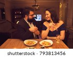 romantic dinner at home | Shutterstock . vector #793813456