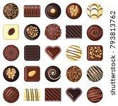 chocolate pralines candies...   Shutterstock .eps vector #793813762