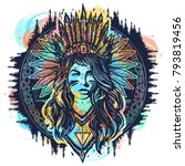 native american woman tattoo... | Shutterstock .eps vector #793819456