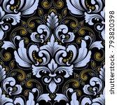 vector damask seamless pattern... | Shutterstock .eps vector #793820398