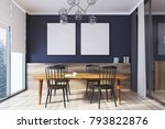 blue dining room interior with... | Shutterstock . vector #793822876