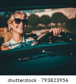 beautiful lady driver in a... | Shutterstock . vector #793823956