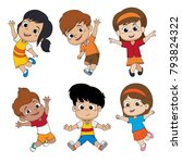 set of kids jumping in the air... | Shutterstock .eps vector #793824322
