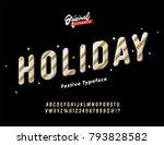 vintage 3d golden slanted... | Shutterstock .eps vector #793828582