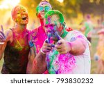 guys with a girl celebrate holi ... | Shutterstock . vector #793830232