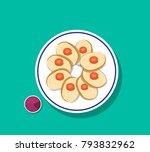 top view  sliced gefilte fish... | Shutterstock .eps vector #793832962