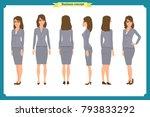 set of businesswoman character... | Shutterstock .eps vector #793833292