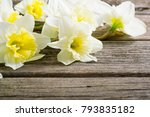 winter daffodils on wood table  | Shutterstock . vector #793835182