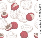 lychee fruit graphic color... | Shutterstock .eps vector #793836922