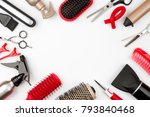 hair tools isolated on white... | Shutterstock . vector #793840468