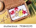 summer facial skincare... | Shutterstock . vector #793843195