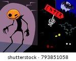 halloween illustration  in red... | Shutterstock .eps vector #793851058