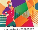 fashion girl in style pop art... | Shutterstock .eps vector #793855726