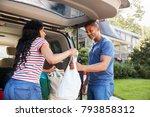 couple unloading shopping bags... | Shutterstock . vector #793858312