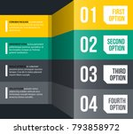 four numbered options in glossy ... | Shutterstock .eps vector #793858972