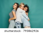 happy female friends having fun ... | Shutterstock . vector #793862926