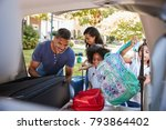 family leaving for vacation... | Shutterstock . vector #793864402