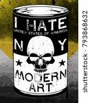 skull modern art poster tee... | Shutterstock .eps vector #793868632