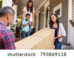 family carrying big box... | Shutterstock . vector #793869118