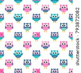 seamless pattern with funny owls | Shutterstock .eps vector #793872082